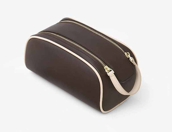 New Travel Toiletry Pouch Protection Makeup Zipper Bags Clutch Women Genuine Leather Waterproof Cosmetic Bags For Women Purse Cosmetic Bags