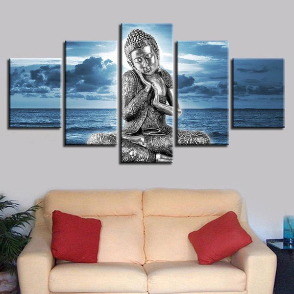 Buddha Statue Art Prints Poster Canvas Art 5 Pieces Modular Pictures Blue Sea Wall Painting Bedroom Home Decor No Frame