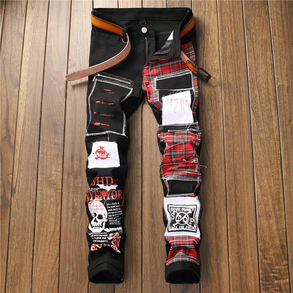 2019 Plaid Schädel Gedruckt Patchwork Lange Jeans Männer Dünne Beiläufige Baumwolle Klassische Zerrissene Denim Für Männer Gerade Slim Fit Biker Jean