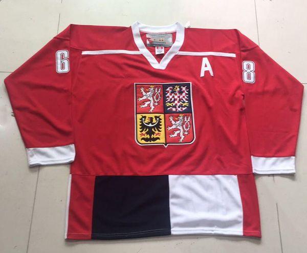 Personalizza JAROMIR JAGR REPUBBLICA CECA Jersey Hockey Ricamo cucito qualsiasi numero e nome Maglie