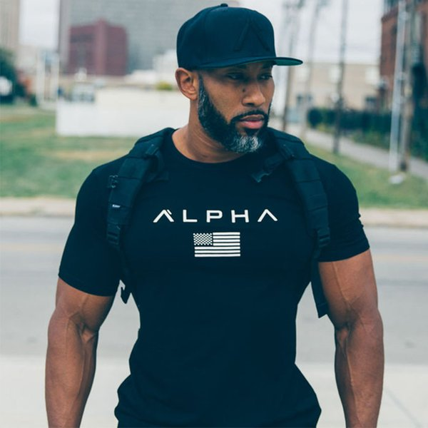 best selling Elastic Short T Shirts For Men USA Flag Fitness Shirt Canada Flag Pattern Tee Tops Exercise Wear Fitness Clothes
