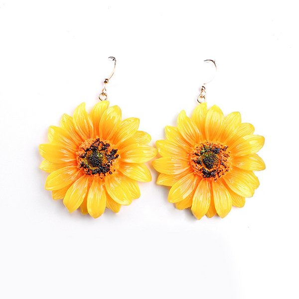 New Fashion Sunflower Big Acrylic Earrings Boho Summer Beach Holiday Flower Stud Earrings For Women Girls Charm Jewelry