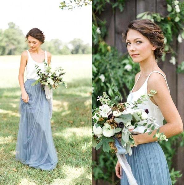Azul polvoriento Dos piezas Dos vestidos de dama de honor Cuello vertical Fruncido Bohemia Longitud del piso Tallas grandes Invitada de boda Vestidos de dama de honor BM0989