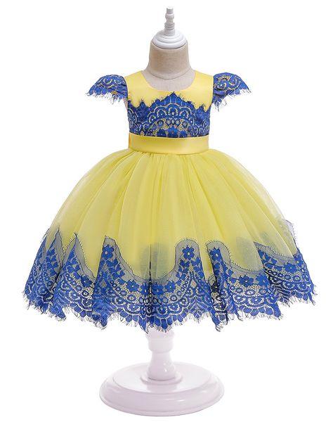 Under $50 Elegant Tutu Lace Tulle Flower Girl Dresses Elegant Pink Yellow Kids Birthday Party Dress Baby Girl Dance Gowns 2019