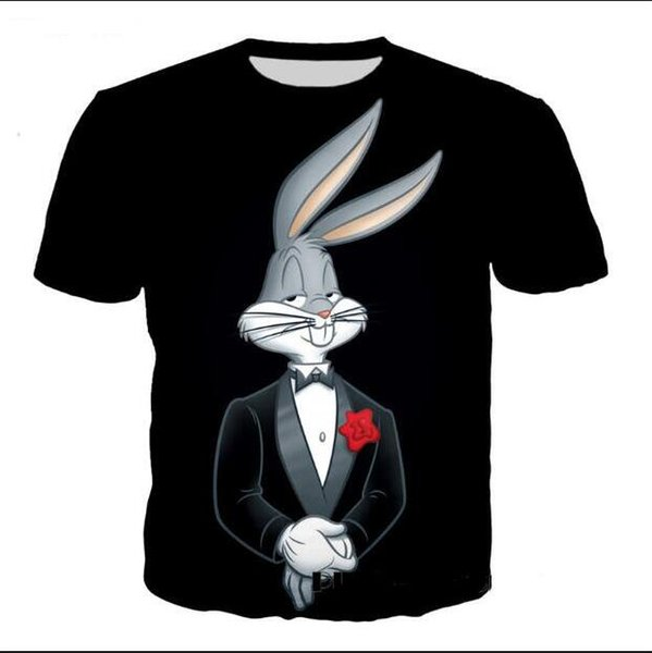 Newest Fashion Mens Womens Summer Style Cartoon Bugs Bunny Funny 3D Print Casual T-Shirt XDX057