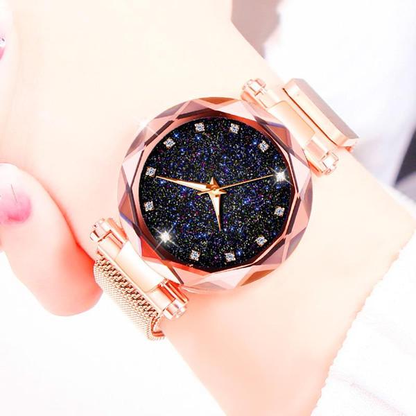 Женщины Роскошные Алмазные Часы Megnetic Женские Часы Из Нержавеющей Стали Кварцевые Наручные Часы Женский Элегантный Звездное Небо Часы