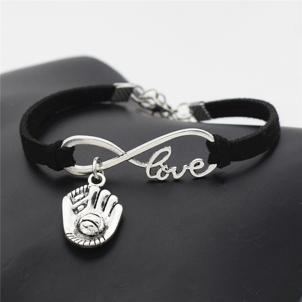 New Vintage Handmade Infinity Love 3D Baseball Glove Sports Print Black Leather Suede Wrap Charm Bracelet Bangles for Woman Men Jewelry Gift