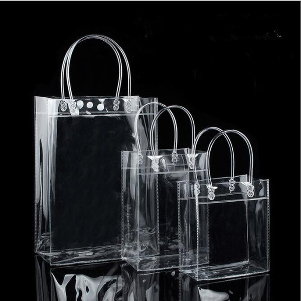 10pcs pvc plastic gift bags with handles plastic wine packaging bags clear handbag party favors bag fashion pp with button