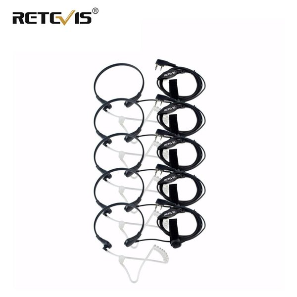 5pcs Retevis Throat Mic Earpiece PHeadset Walkie Talkie Accessories For Baofeng UV 5R UV-82 For TYT Puxing