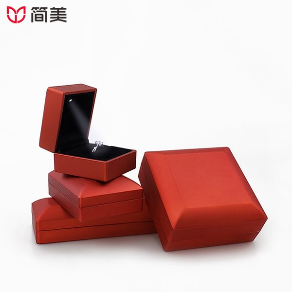 Rounded LED Light Jewelry Box Ring Box Red Storage Jewelry Packaging Professional Customization