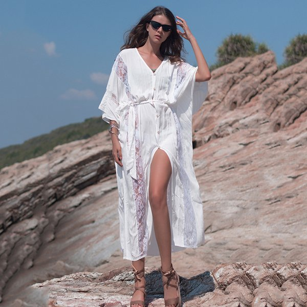 2019 Women Lace Dresses European American Style Hollow Out White Beach Long Gown Elegant Ladies Free Size Belt Cardigan Women Dressing Cute Sundress