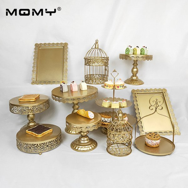 11Pcs Thin Disk Gold Pink Silver White Black Set Crystal Wholesale Party Fruit Metal Decoration Dessert Display & Cupcake 3 Tier Cake Stand