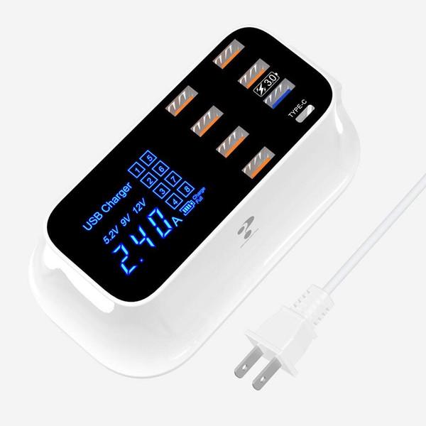 İstasyon-Hub Evrensel Uyumluluk iOSAndroid Aygıtlar Hızlı Masaüstü Şarj Cihazı QC 3.0 USB Şarj Çoklu Port USB
