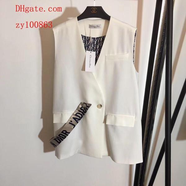 2019 Marka en kaliteli kadın giyim kadın üstleri Bir toka Dış yelek takım yelek Büyük boy siyah ve beyaz kadın yelek kadın blazers MJ-20
