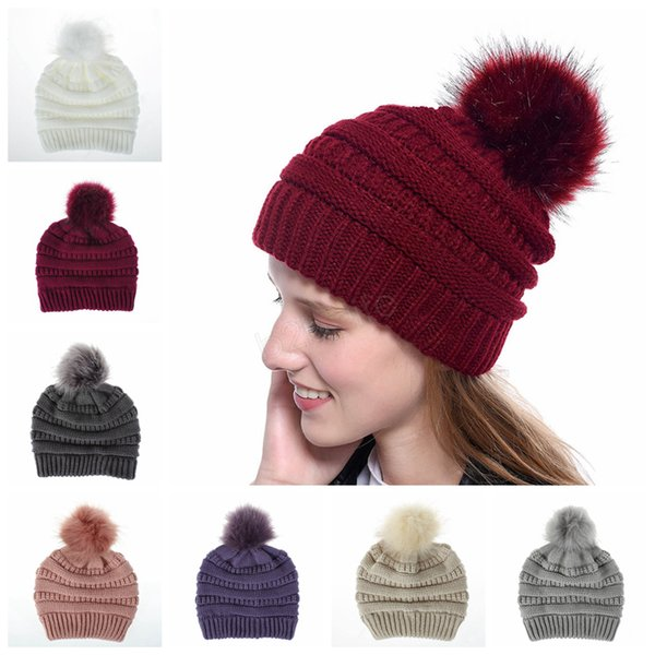 Winter Women Knitted Hat Warm Pom Pom big Fur ball Wool Hat Ladies Skull Beanie Solid Crochet Ski Outdoor Caps 30pcs LJJA2930