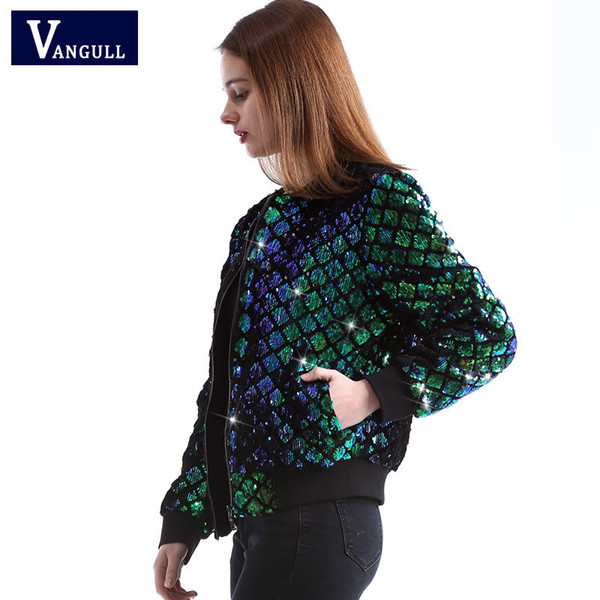 Vangull New Spring Autumn Women Sequin Coat Green Bomber Jacket Long Sleeve Zipper Streetwear Jacket Preppy Casual Basic Coat T5190612
