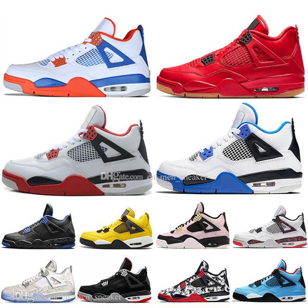 Sale 2019 Newest Bred 4 4s What The Cactus Jack Laser Wings Mens Basketball Shoes Denim Blue Eminem White Cement Men Sport Designer Sneakers