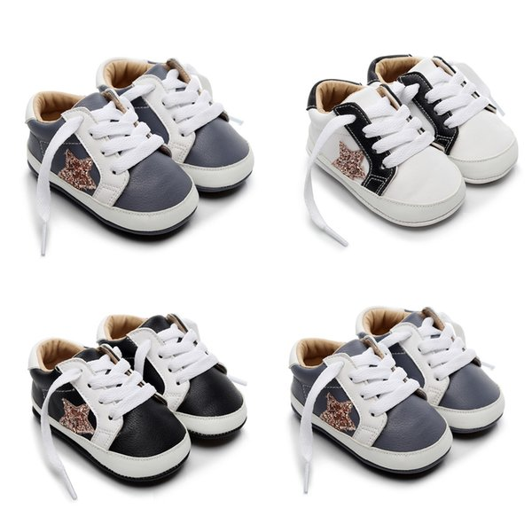 baby boots infant newborn girls boys cartoon shoes first walkers shoes solid lace-up winter warm buckle children