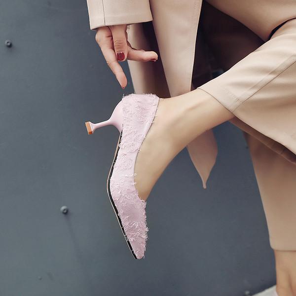 Kız chic küçük taze yüksek topuklu kadın 2019 yaz ve sonbahar yeni kişilik sığ ağız stiletto kadın ayakkabı işaret