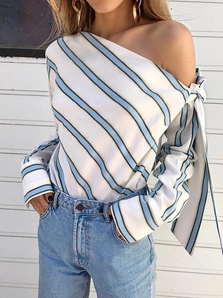 2019 new fashion Europe and America blue and white pink gray striped shoulder strap bow long-sleeved shirt