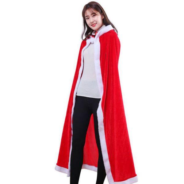 Women Adult Christmas Santa Red Cloak Hooded Cosplay Dress Costume Cape Prop Hot