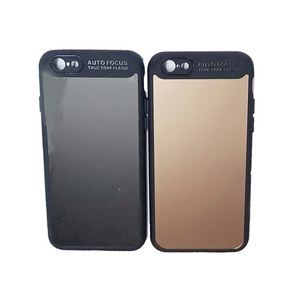 For iPhone 6 6plus Phone Cases Slim Soft TPU+PC Silicone Case Shell with Dust Cap Color: Black Dark Brown Gold
