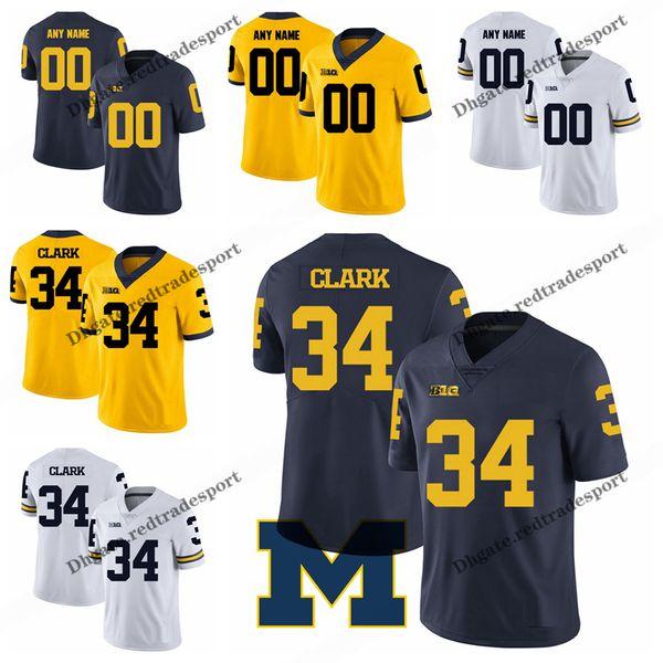 buy popular 6e21e 981bf 2019 Customize 2019 Michigan Wolverines Jeremy Clark College Football  Jerseys Mens Blue Yellow #34 Jeremy Clark Stitched Football Shirts S XXXL  From ...