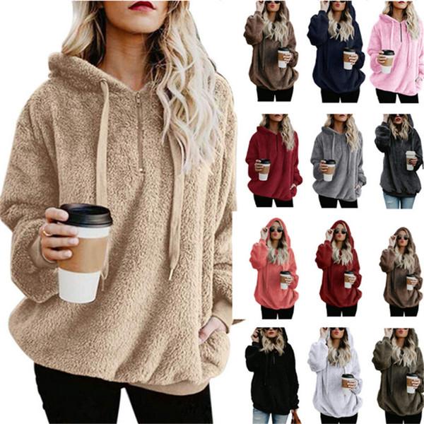 Hooded Women Sherpa Sweater Blouses Fleece Warm Hoodies Autumn Winter Coat Sweatshirts Oversize Pullover Tops Sport Top C92709