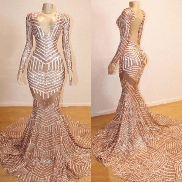 2019 Hot Sale Vintage Evening Gowns V Neck Mermaid Long Sleeve See Through Open Back Arabic Rose GOld Prom Dresses BC0841