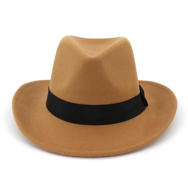 2019 Fashion Men Women Wool Felt Panama Hats Western Cowboy Caps Wide Brim Sombrero Fedora Trilby Jazz Church Hat Floppy Cloche Cap