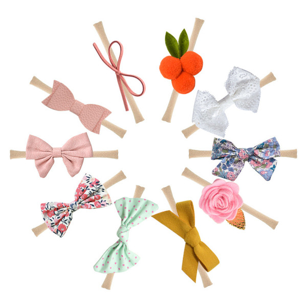 Cute Soft Baby Girl/'s Flower Headband Hair Bows Elastic Nylon Hair Band Gift.