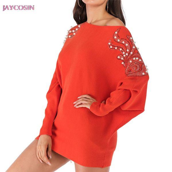 JAYCOSIN 2019 личность свитер мода женщины перекос шеи с длинным рукавом ногтей бисером длинные свободные вязаные свитера сверху падение #0806