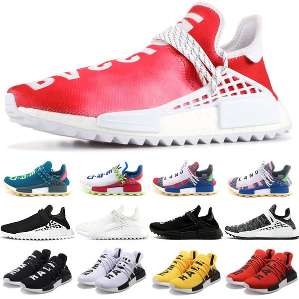 Adidas Boost NMD Human Race Tênis de Corrida Homens Mulheres Pharrell Williams HU Corredor Amarelo Preto Branco Mens Designer Trainer Tênis Esportivos 36-47