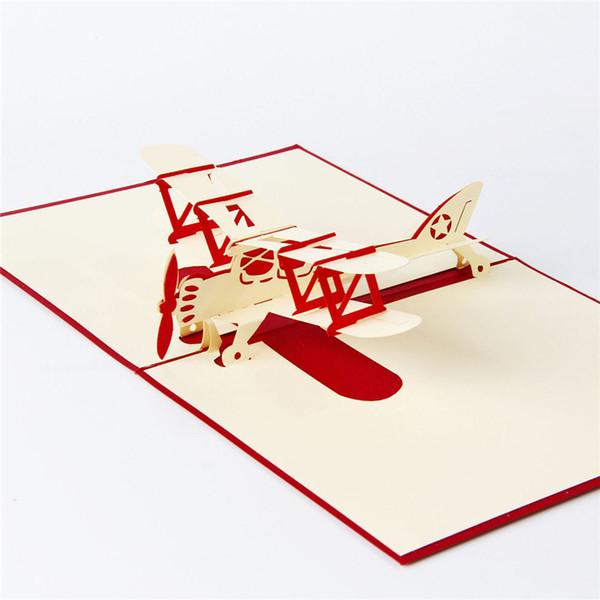 3d الليزر قطع اليدوية نحت لطيف طائرة طائرة ورقة دعوة بطاقات المعايدة بريدية الأعمال حزب الاطفال الإبداعية هدية