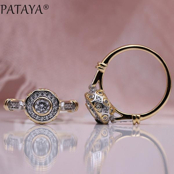 Pataya New 585 Rose Gold Adorável Carved Natural Zircon Rings Mulheres Moda Wedding Jóias Fine Craft oco Rodada Branco Anel CJ11911111