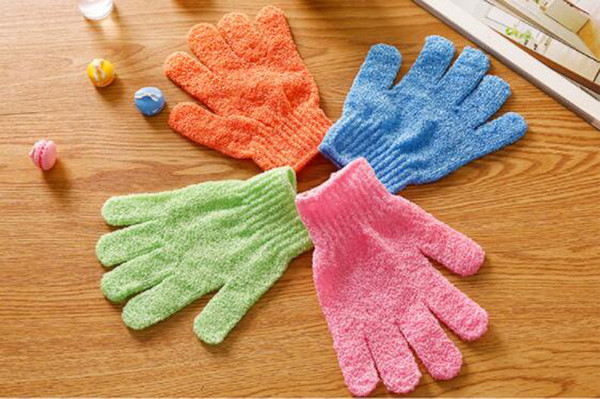 Candy color five finger nylon double-sided exfoliating dead skin bathing gloves massage bath towel