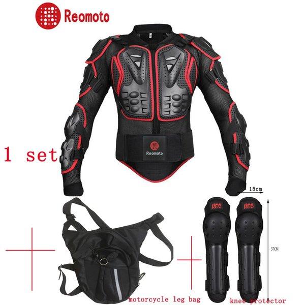 1Set de Course de motos Motorcross corps Armure de protection Engrenages + sac de jambe de moto + moto genouillères