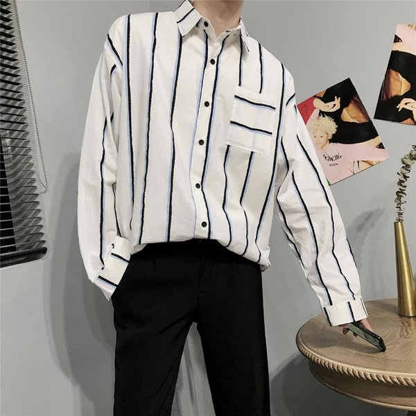 2019 Summer Men's Stripe Printing Hawaiian Shirt Male French Cuff Mens Brand Fashion Trend Clothes Loose Shirts Big Size M-5XL