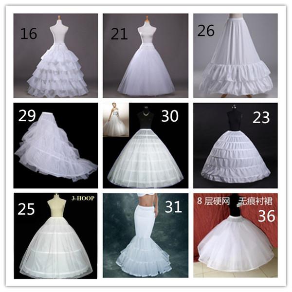 2019 Barato 10 Estilos Blanco Una línea Vestido de Balll Sirena Vestidos de fiesta de bodas Faldas de baño Resbalones Enaguas Con Hoop Hoopless Crinolina
