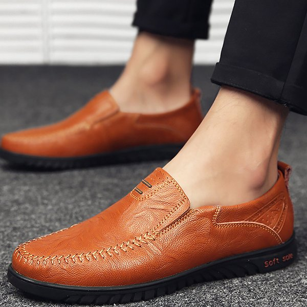 Genuine Leather Men Casual Shoes Loafers Plus Size 45-47 Sewing Driving Peas Shoes For Men Cozy Red Brown Factory Outlets