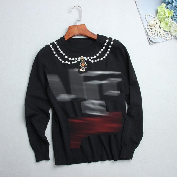 2018 Spring New Pattern Long Sleeves Jacket T-shirts Pearl Necklace English Letter Thin Money Knitting Blouses