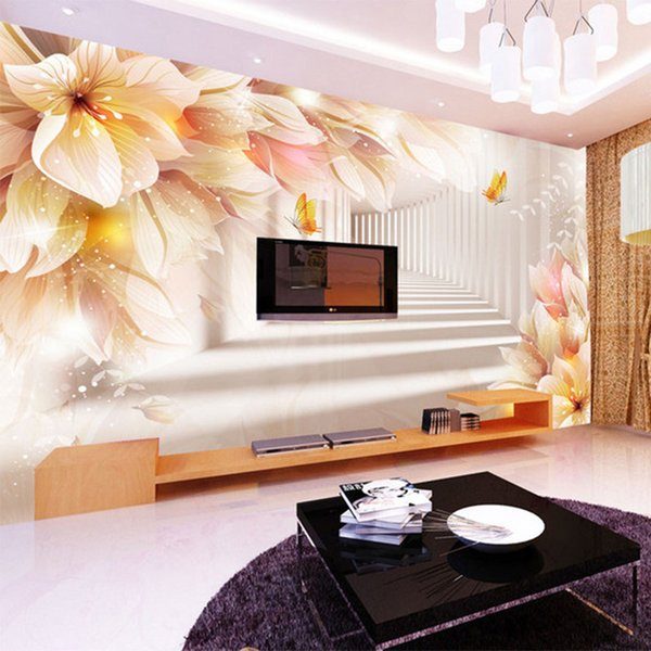 Foto Wallpaper 3D Stereo Fantasy Flower Space Expansion Murale Soggiorno TV Divano Ambiente Camera accogliente non tessuto carte da parati