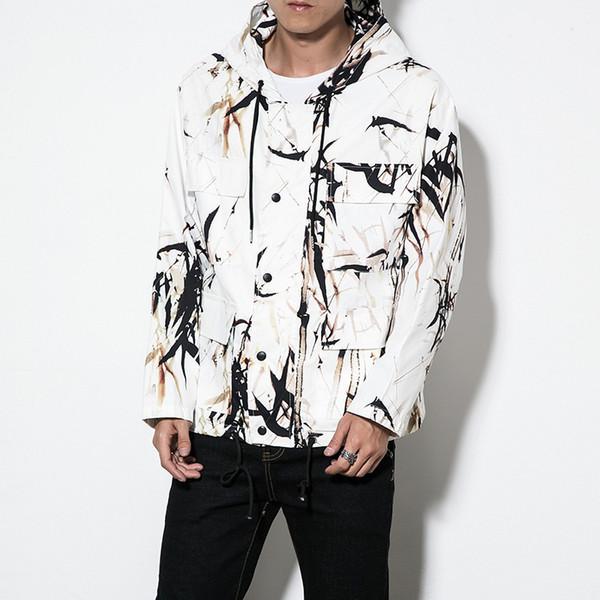 # 0580 Весна Осень Печатная Куртка Мужская Тонкая Свободная Уличная Белая Хип-Хоп Куртки Молния Мужчины Повседневная Пальто С Капюшоном Плюс Размер 5XL