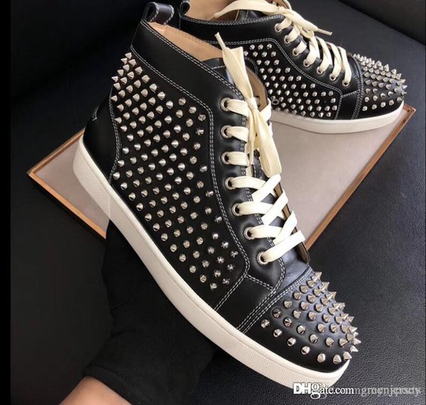 Italy Brand Design Red Sole Sneaker Spiked Flat Men's Red Bottom Sneakers High Top Genuine Leather Full Spikes Factory Wholesale