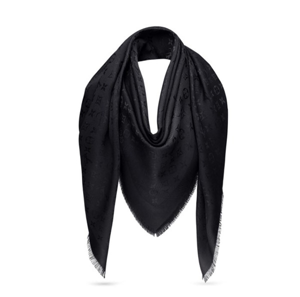 New classic design high quality 100% twill silk material plain Knitting jacquard black color scarves shawl for women size 140cm - 140cm