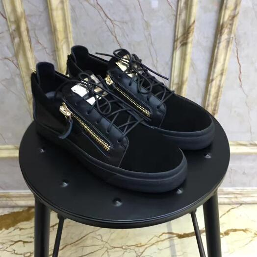 Fashion Luxury 3 styles Black Color with Sheet Metal Casual Shoes Brand New Zipper Lace Up Flat Shoes Men Women Low Top Sneakers Sport Shoes