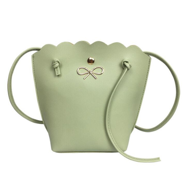 Summer new one-shoulder diagonal mini bucket ladies bag wavy lace bow gift bag Fabric texture PU Lining texture