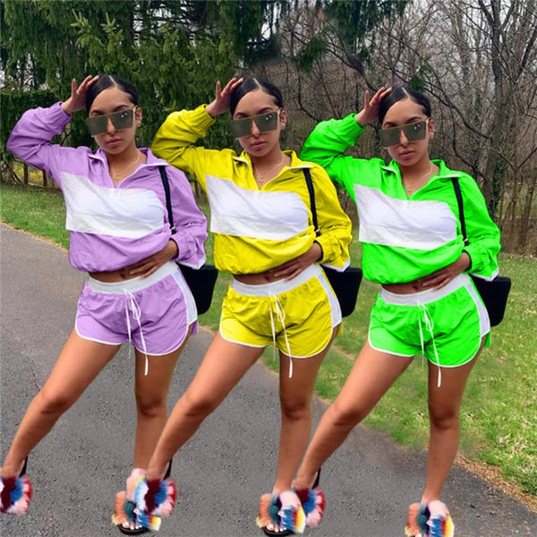 Women Patchwork Sheer Mesh Tracksuit Jacket + Drawstring Shorts Outfit Jumpsuits Summer 2 Piece Wind Breaker Sportswear Jogger Suit C41503