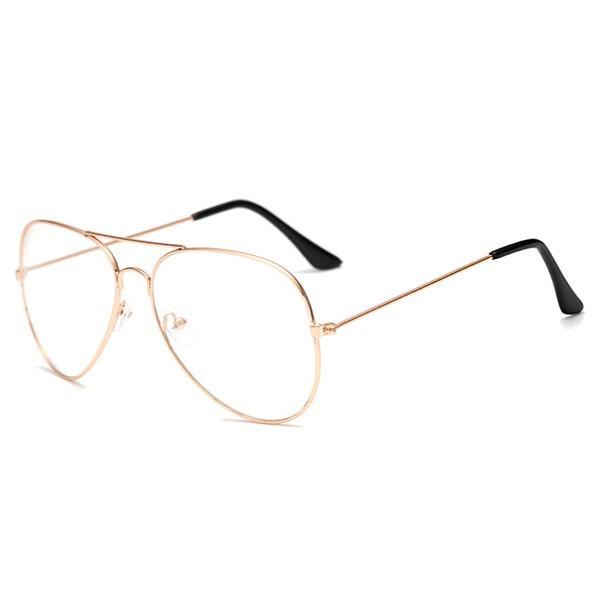 2019 Unisex Clear Metal Spectacle Frame Optics Myopia Eyeglasses Classic Brand Glasses Men Women Clear Plain Lens Glasses