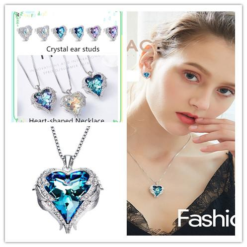 Swarovski Element Heart Necklace Crystal Sweater Chain and Crystal ear studs Match